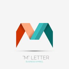 M letter company logo, minimal design