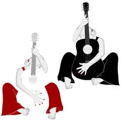 Girl with guitar, vector illustration