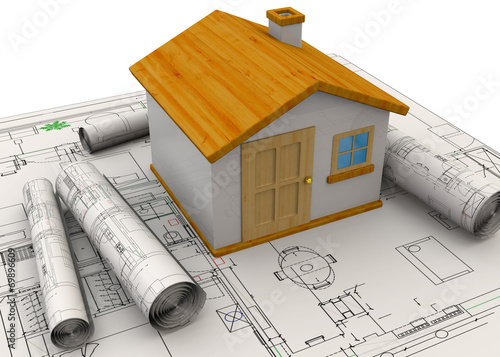 canvas print picture Planning Home Concept - 3D