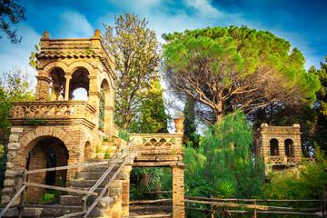 ancient building in Vila Comunale, Taormina