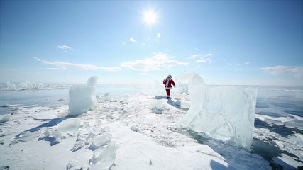 Christmas holidays, Santa Claus walks around the lake Baikal, Si