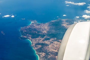 Travel by plane, Sardinia from the sky.