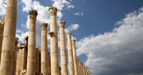 Roman Columns in the Jordanian city of Jerash, jordan