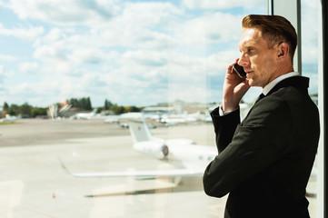 Businessman waiting for flight.