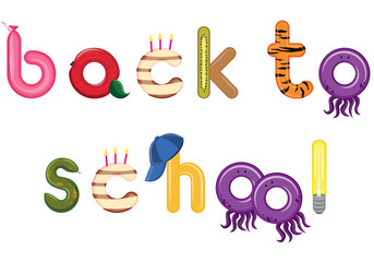 Back to School ,Kids funny letters