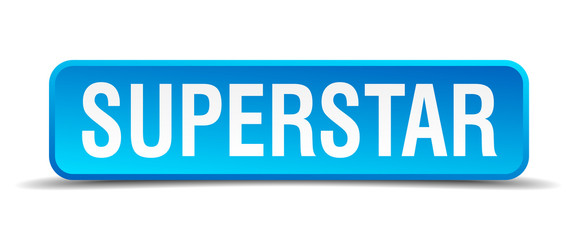 Superstar blue 3d realistic square isolated button