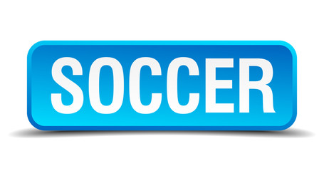 Soccer blue 3d realistic square isolated button