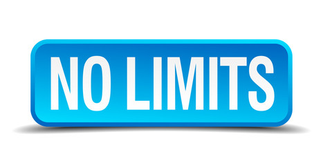 No limits blue 3d realistic square isolated button