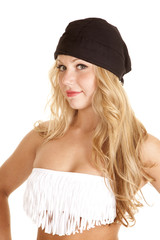 woman fringe tube top black beanie