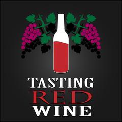 Tasting Red Wine poster. Vector illustration