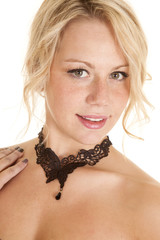 woman lace choker butterfly