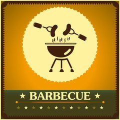 retro barbecue grill poster design menu background