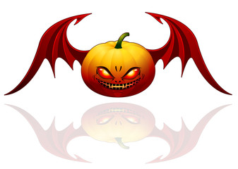 Halloween pumpkin with wings