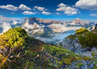 Gruppo Del Cristallo mountain range at foggy summer morning. Dol