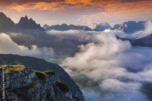 Foggy summer sunrise in the Italian Alps. Dolomites mountains, I © jojjik