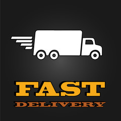 delivery van poster with fast delivery letters