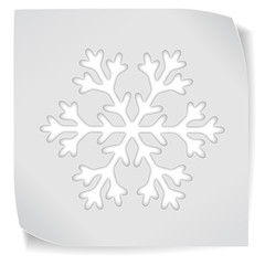 paper sticker with snowflacke