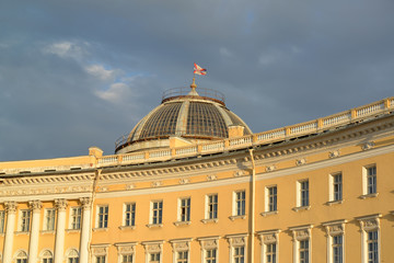 St. Petersburg. The fragment of the General Staff Building shine