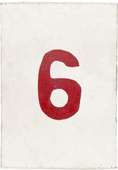 number six on white plywood board