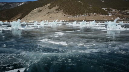 Panoramic movement on the ice Horse, Lake Baikal in winter