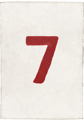 number seven on white plywood board
