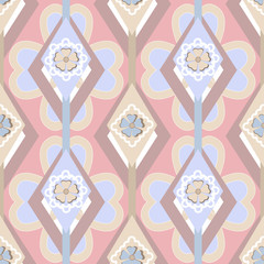 Seamless ornate pattern with geometric elements background
