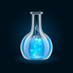 Transparent flask with magic blue liquid on black background.