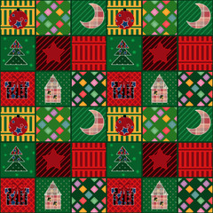 Seamless christmas pattern elements patchwork background