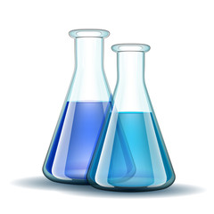 Chemical laboratory transparent flasks with blue liquid.