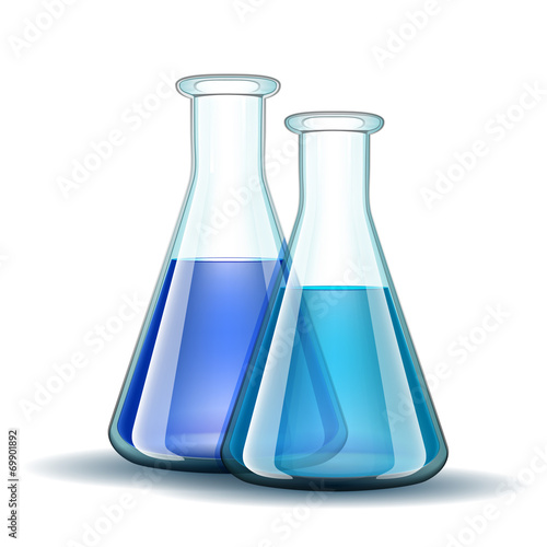 Chemical laboratory transparent flasks with blue liquid. - 69901892