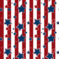Seamless striped pattern with blue stars background