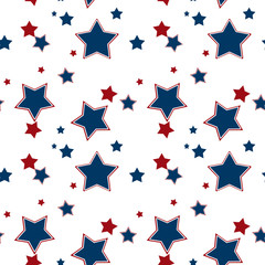 Seamless white pattern with red blue stars background