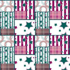 Patchwork seamless retro checkered stars pattern background