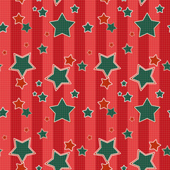 Seamless kids pattern with red stripes stars background