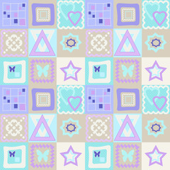 Patchwork seamless pattern with geometric elements background