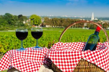Vin, verres et bouteille, dans les vignes , été, septembre