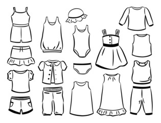 Contours of clothes for little girls