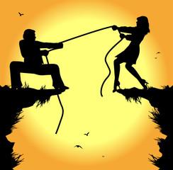 simbolica illustrazione,tiro alla fune tra uomo e donna