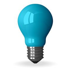 Blue tungsten light bulb standing