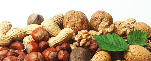Assorted fresh nuts horizontal banner
