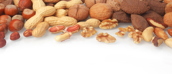Mixed whole and shelled nuts in a banner