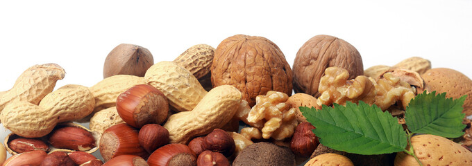 Festive banner of mixed whole fresh nuts