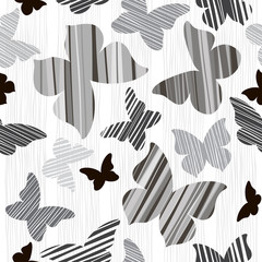 Monochrome seamless  background with butterflies.