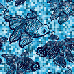 Seamless pattern with cartoon fish on the mosaic background.