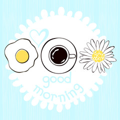 Good morning! Hand drawn vector illustration of coffee, scramble