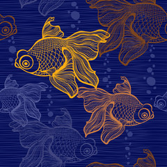 Seamless pattern with goldfish.
