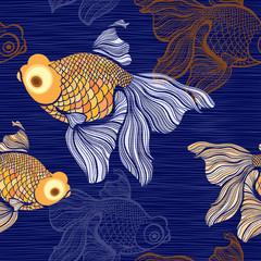 Seamless pattern with goldfish.