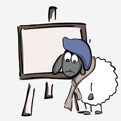 Vector illustration, sheep, artist