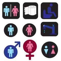 Set of 9 icons toilet