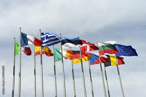 Leinwandbild Motiv Flaggen, Fahnen, Europäisches Parlament, Europäische Union